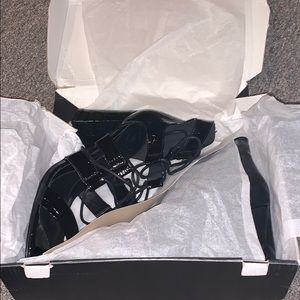 MISSGUIDED LACE UP CROCODILE PRINT HEELS